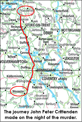 mapa trasy podjętej przez zabójcę